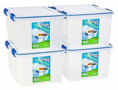 IRIS USA, Inc. Ziploc WeatherShield 44 Quart Storage Box, 4