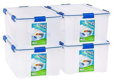 IRIS USA, Inc. Ziploc WeatherShield 60 Quart Storage Box, 4