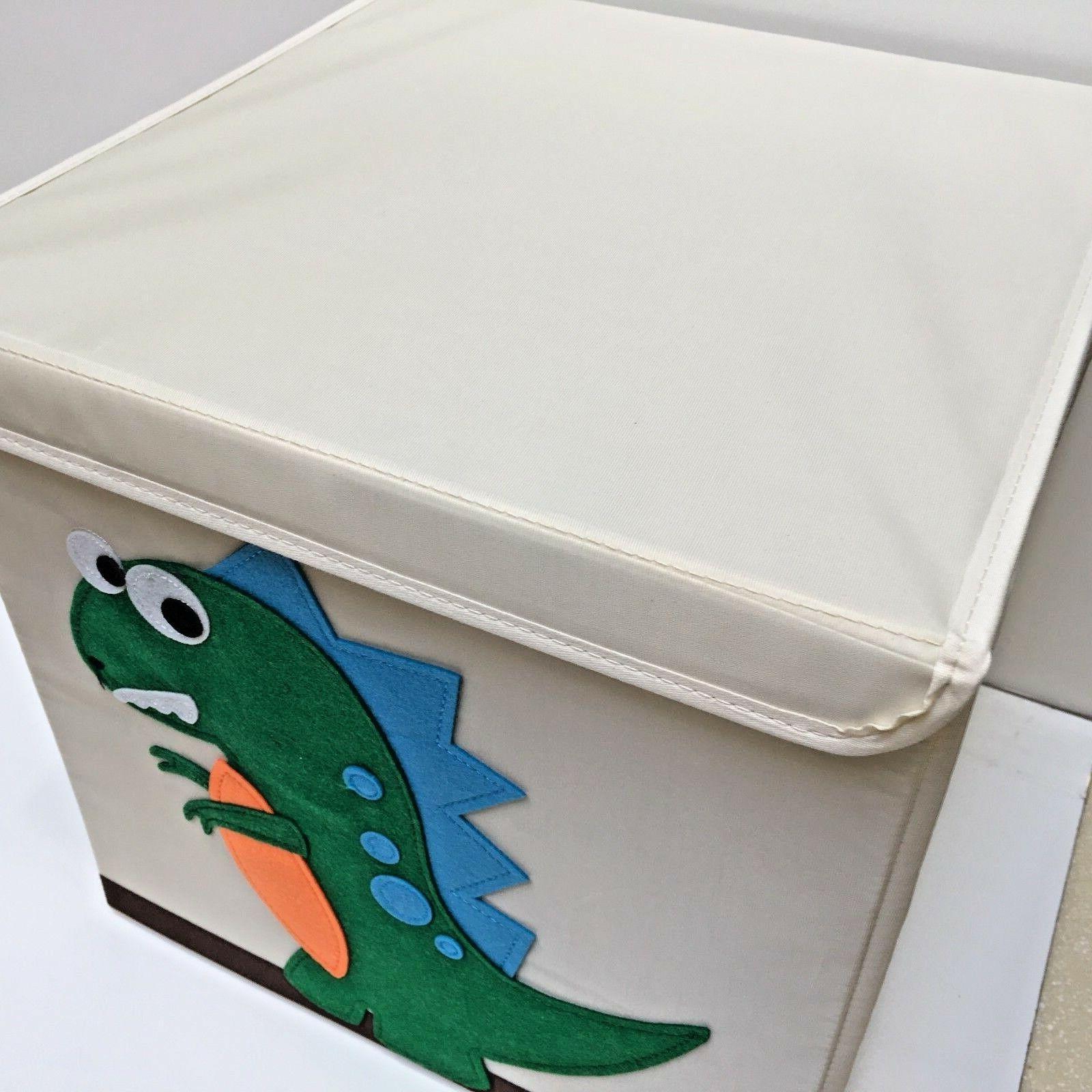 Kids Folding Canvas Storage w/Attached Lid & Closure
