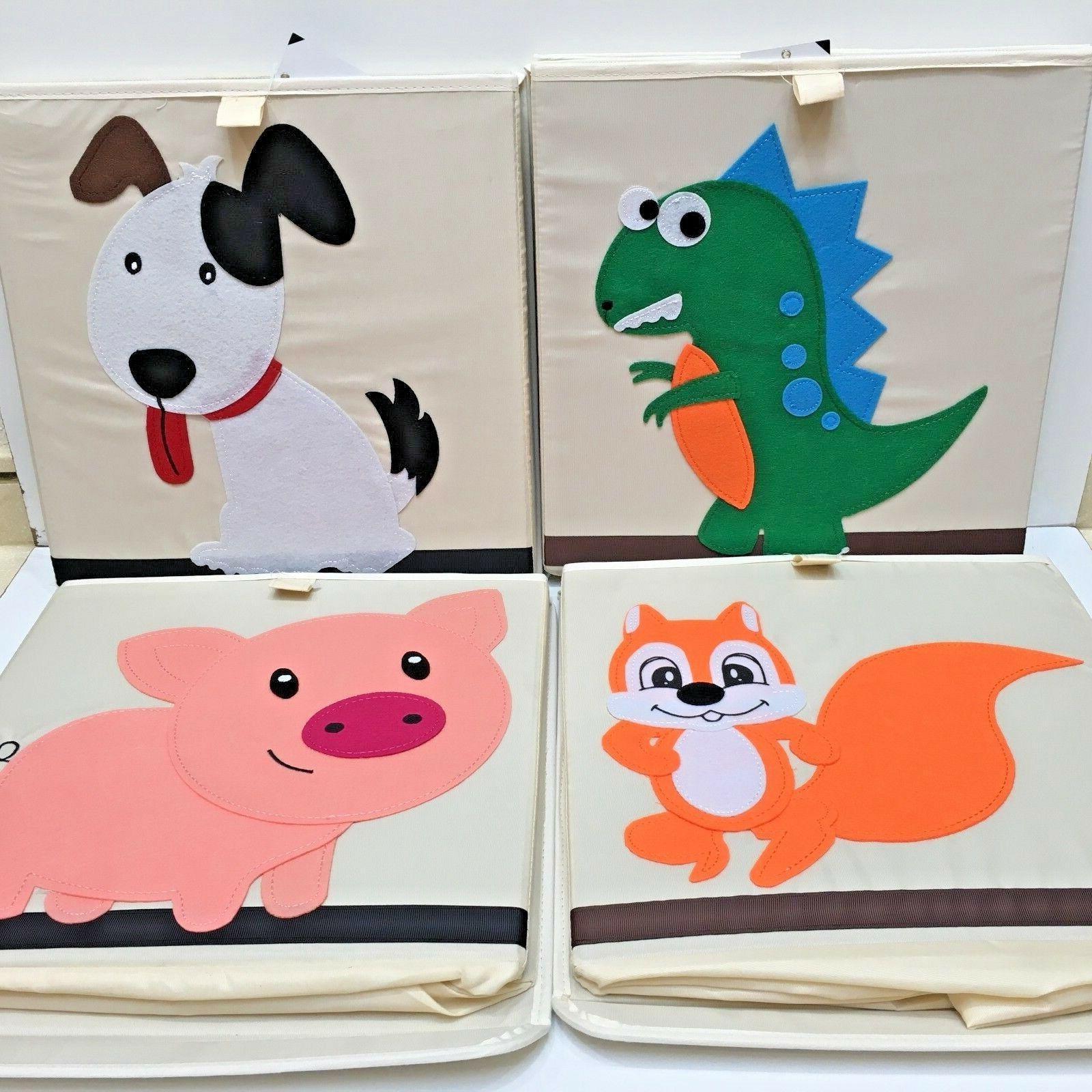 kids folding canvas sq storage toy box