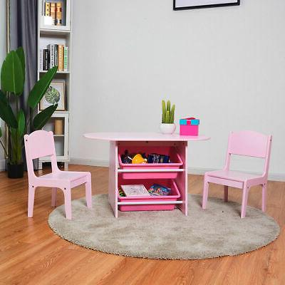 Kids and Chairs Set with Boxes Desk Pink