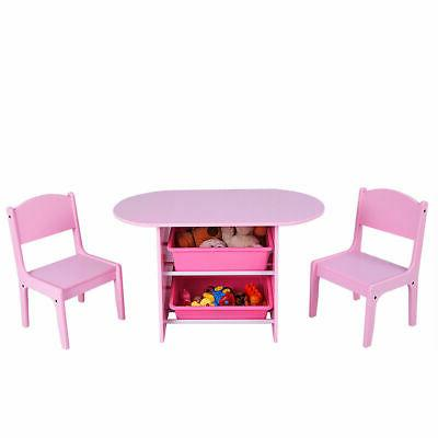 Kids and Chairs Boxes Desk Pink