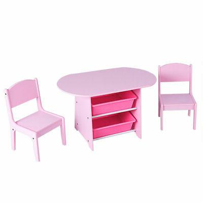 Kids Table 2 Chairs with Boxes Desk