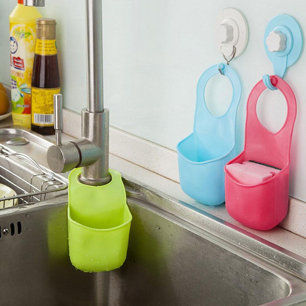 Kitchen Bathroom Hang Container <font><b>Storage</b></font> Home faucet soap <font><b>storage</b></font> <font><b>shelf</b></font> drain