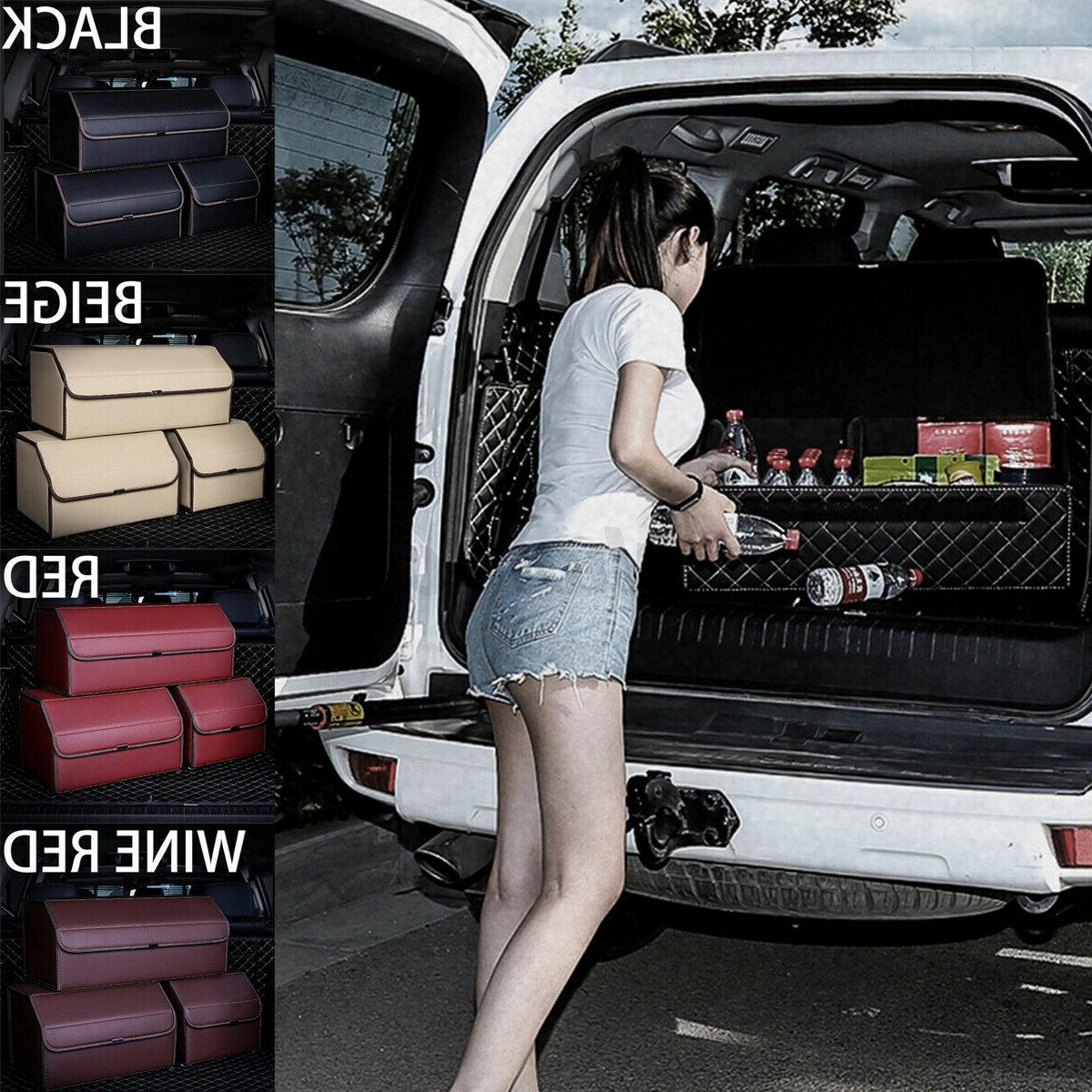 Large Car PU Leather Storage Box Folding Rear Racks