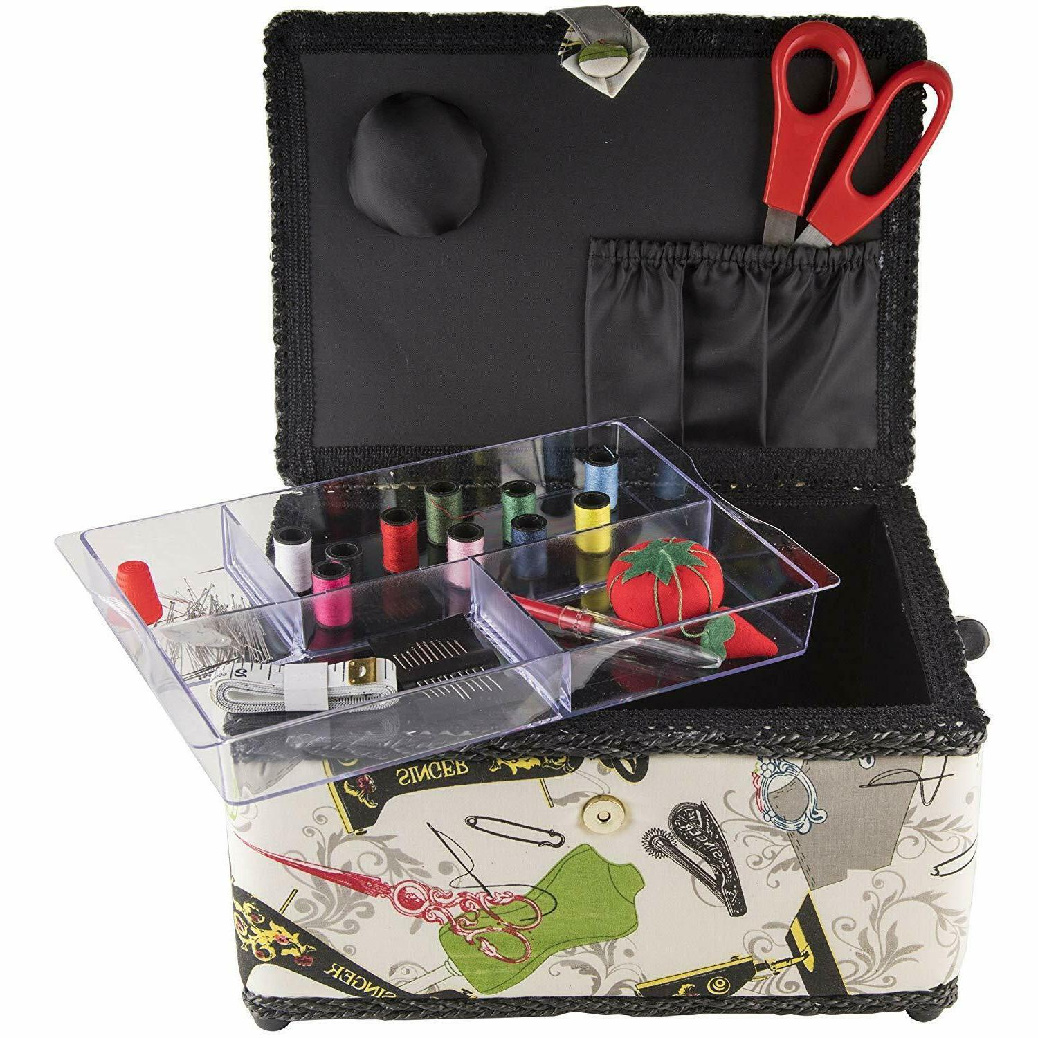 Large Sewing Storage Box Vintage Organizer With Accessories