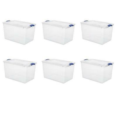 66 Quart Secure Latch Box Stadium Blue Clear Plastic Home Ki