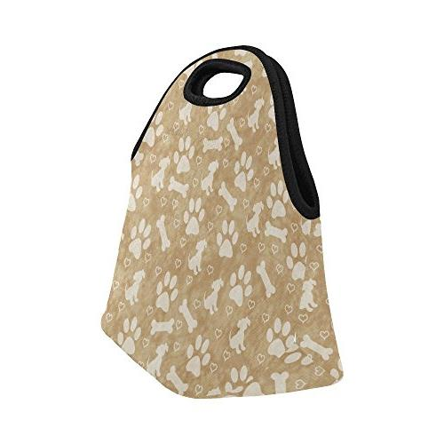 InterestPrint Light Brown Puppy Dog Lunch Paw Print Bone Lunchbox Handbag Men Women Adult Kids