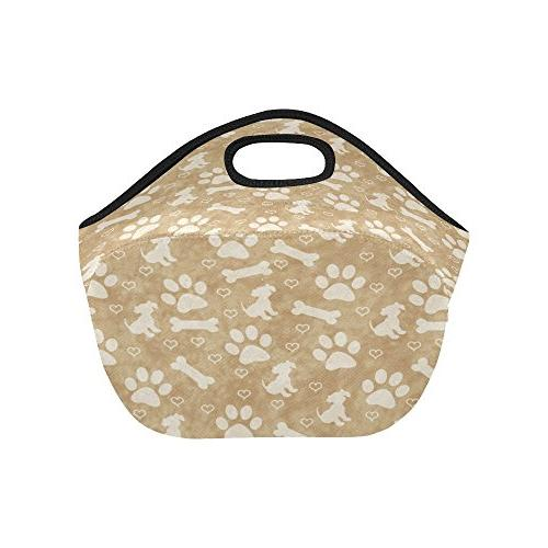 InterestPrint Dog Neoprene Lunch Paw Portable Lunchbox Handbag Women