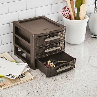 Sterilite Medium Weave Office Supplies 3 Drawer Storage Organizer