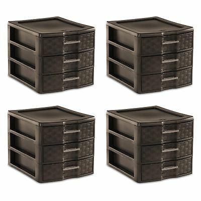 Sterilite Medium Weave Craft Office Supplies 3 Drawer Storag