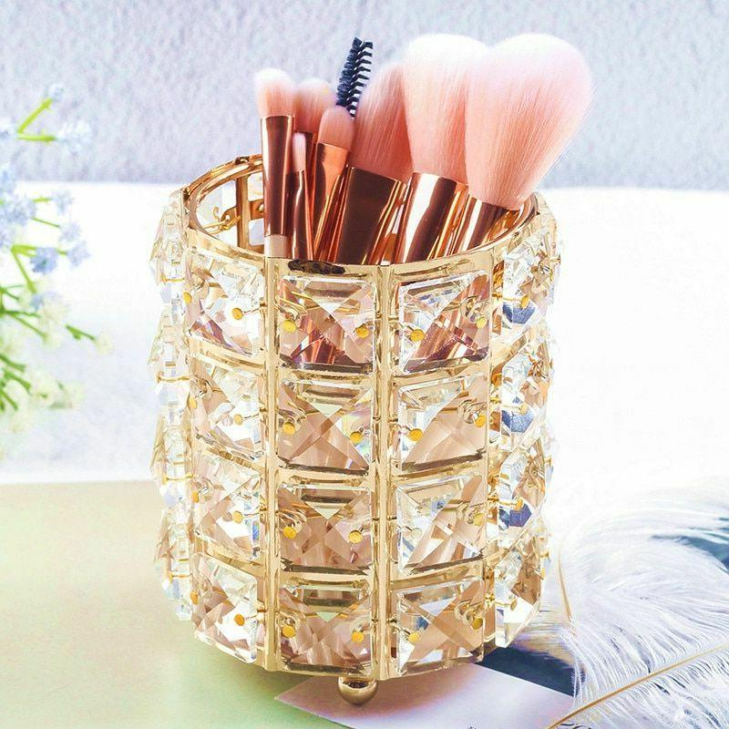Makeup Storage Box Crystal Metal Bead Brush Cosmetics Organi