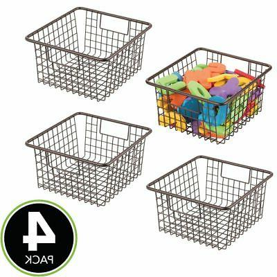 mDesign Metal Kids Toy Box Organizer Basket Bin