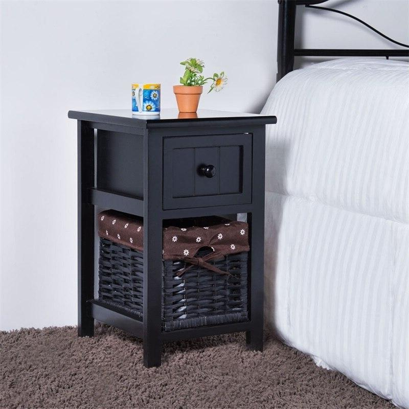 Mini 2 Drawer Wood Nightstand with Basket MDF Solid Paulownia Withdrawable <font><b>Storage</b></font>