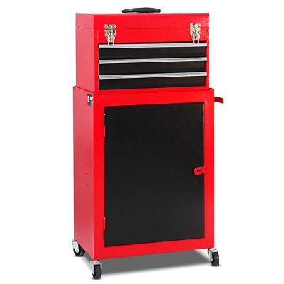 2pc Tool & Cabinet Box Rolling Garage Organizer New