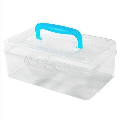 Mini Clear Storage Box / Portable Transparent Container Blue