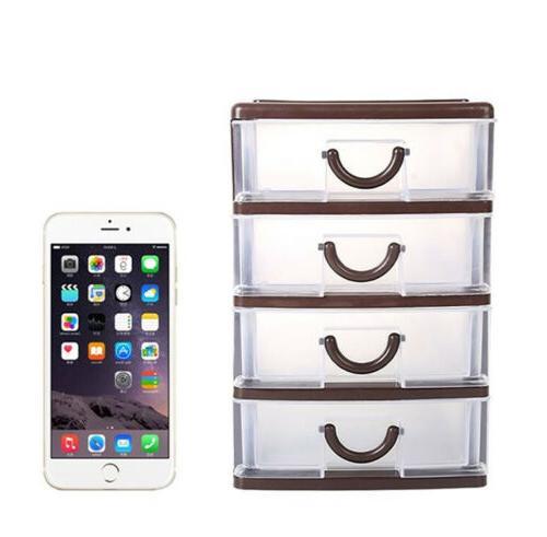 Mini 4Drawer Plastic Cabinet Organizer Box Container
