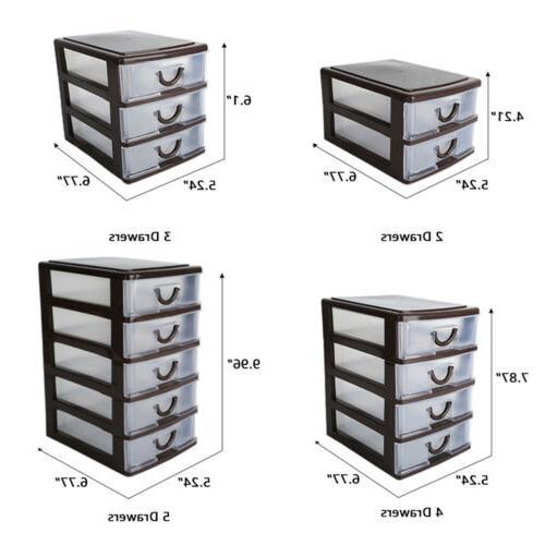 5 Drawer Plastic Storage Tower Organizer Bin White