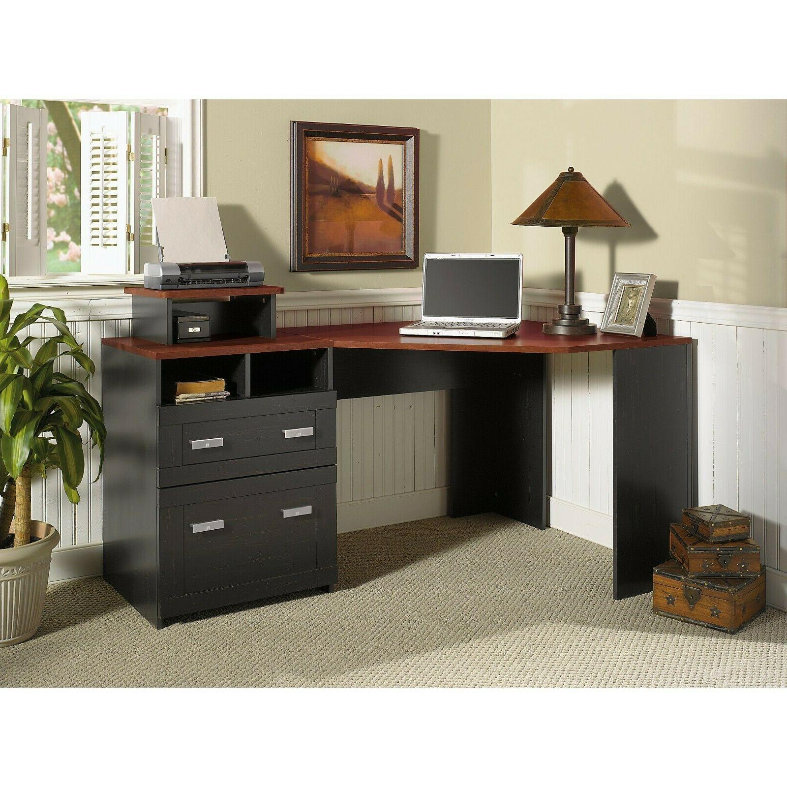 Office Bush Furniture Reversible Desk with File Storage