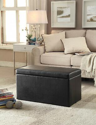 OTTOMAN STOOL Leather Faux Seat Chest Large Decor
