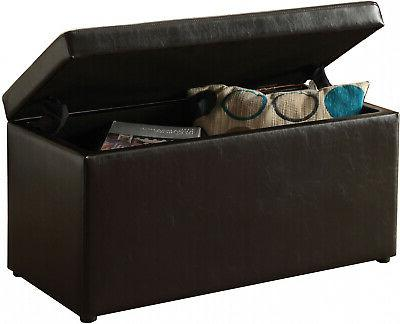 ottoman storage bench stool leather faux seat