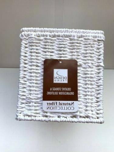 🆕Household Paper Rope Lidded Wicker Storage in White