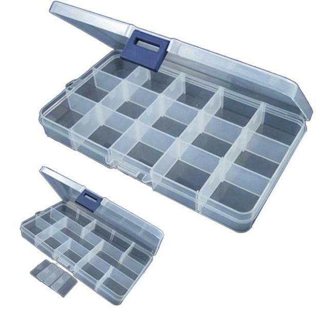 plastic 15 slots adjustable jewelry storage box