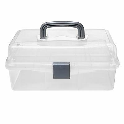Plastic 2 Tier Trays Craft Supply Storage Box / aid Case w