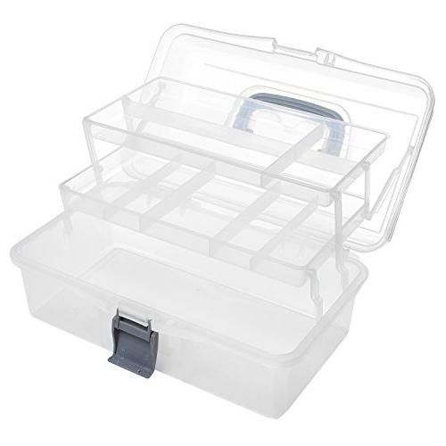 MyGift Plastic Trays Craft Storage Box/Firstaid Handle &