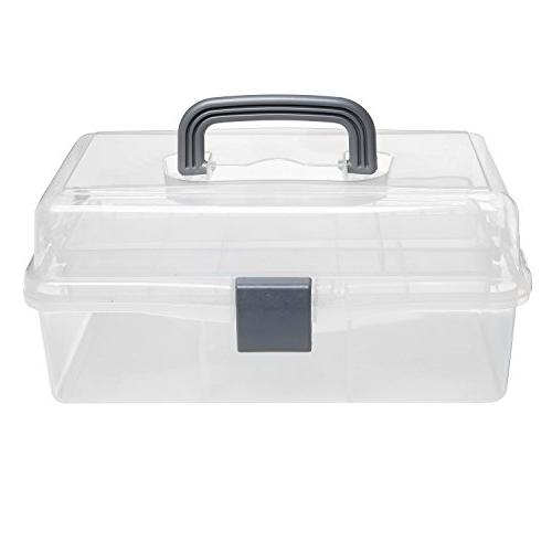 MyGift Plastic Trays Craft Supply Box/Firstaid Handle &