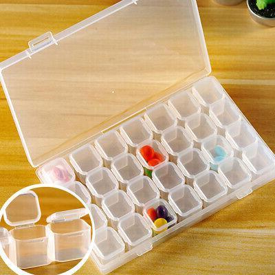 plastic adjustable storage box case jewelry bead