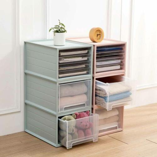 plastic clothes storage box drawer file shelf