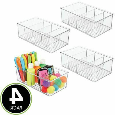mDesign Plastic Sewing Storage Organizer Box Sections - Clear