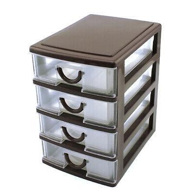 4 Tower Organizer Cabinet Bin Box Desktop