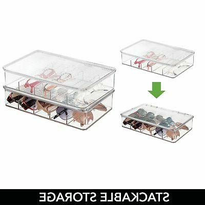 mDesign Plastic Glasses Storage Organizer Box, Sections