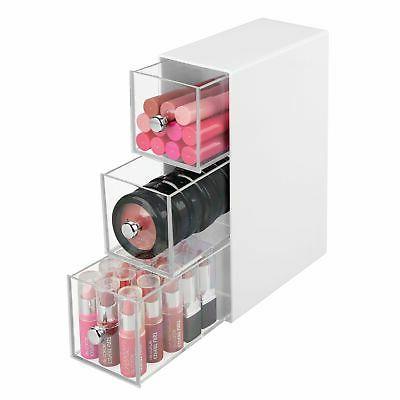 mDesign Plastic Organizer Box, Flips, Drawers