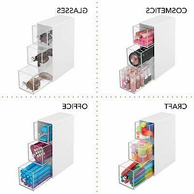 mDesign Storage Organizer Box, Flips, Drawers