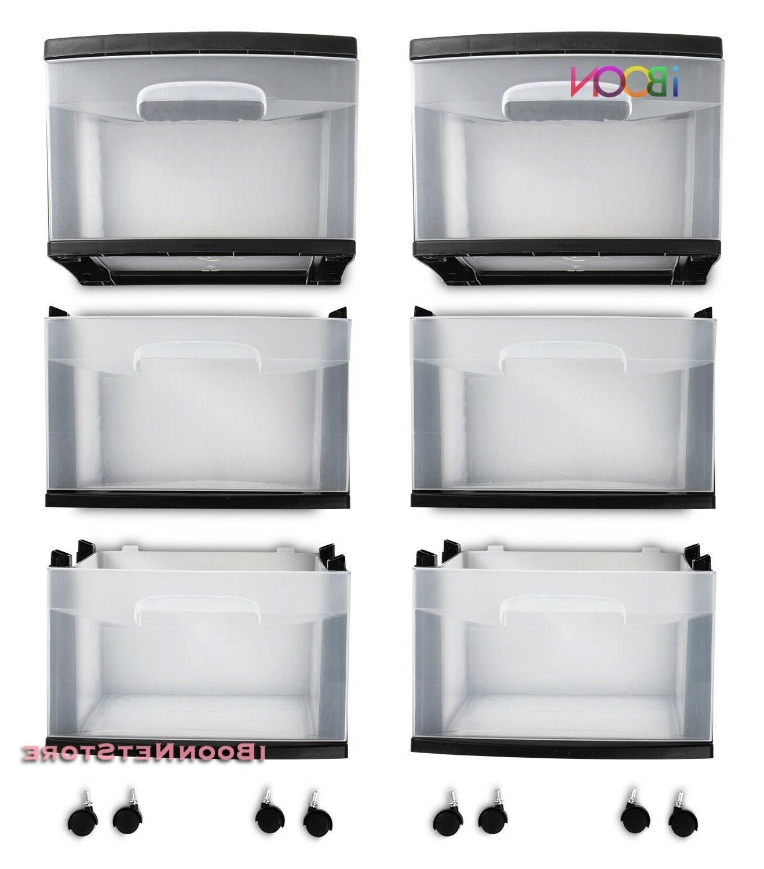 Plastic Multi 3 STORAGE Set Of Rolling Bin Box