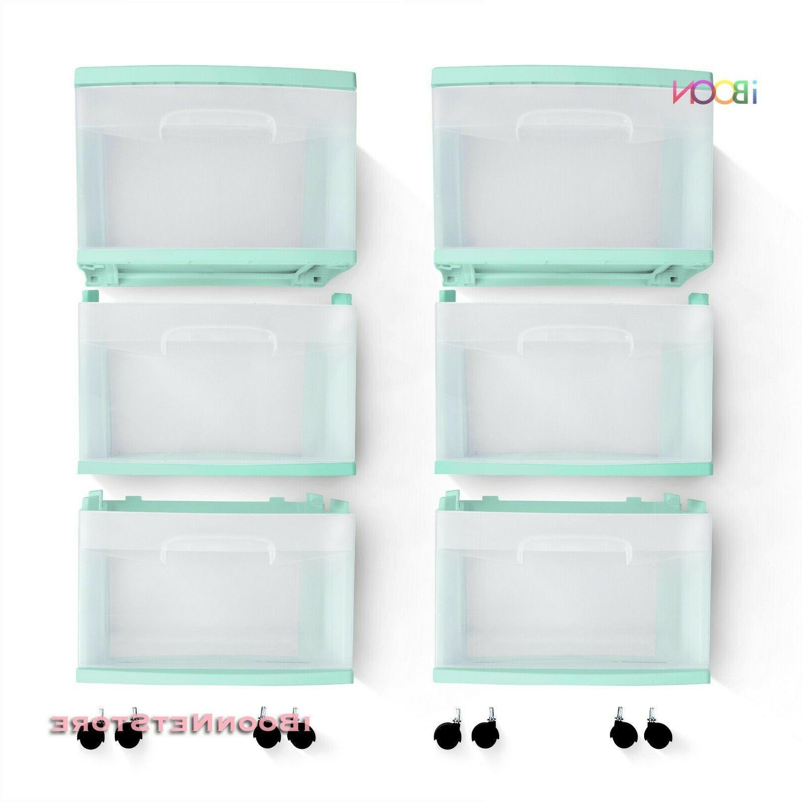 Plastic STORAGE Set 4 Rolling Bin Box