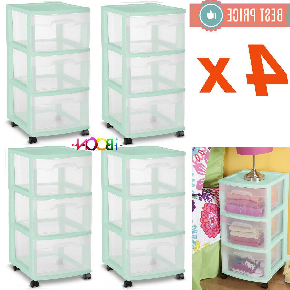 plastic multi 3 drawer storage cabinet cart