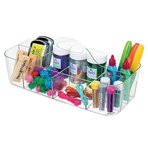 mDesign Portable Arts and Crafting Sewing Desktop Caddy Storage Organizer Tote Holder Handle - Pack of 2, Clear