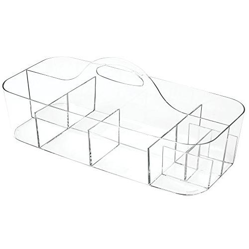 mDesign Plastic and Crafting Desktop Caddy Storage Tote Caddy Handle Pack 2, Clear