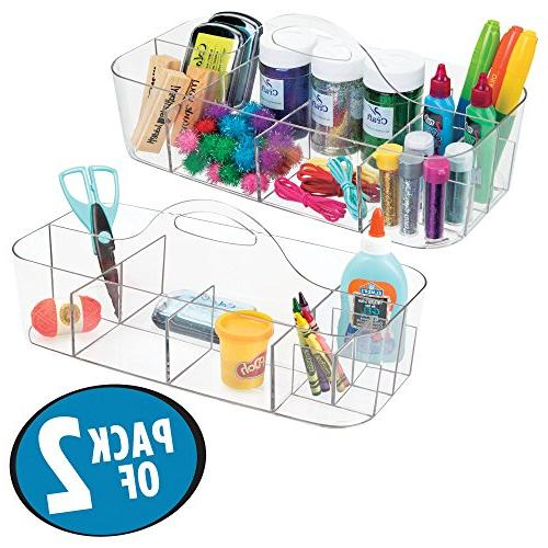 mDesign and Sewing Caddy Storage Organizer Utility Tote Caddy Holder with Handle - 2,