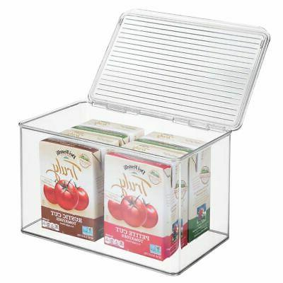 plastic stackable kitchen food storage box hinged