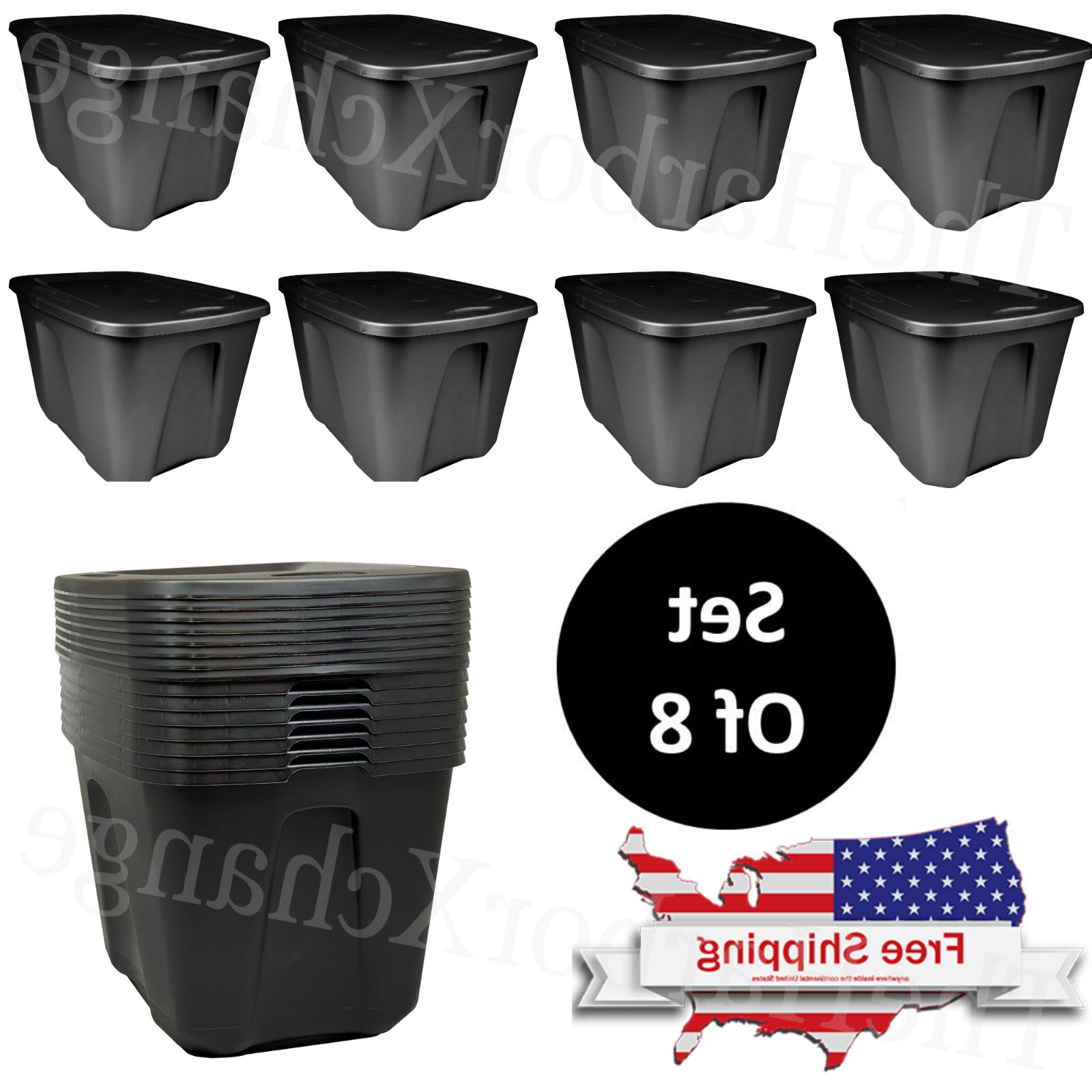 set of 8 storage containers 18 gallon