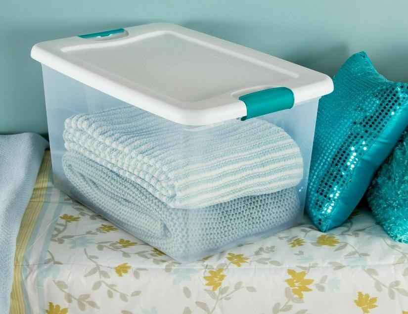 Plastic Storage Lids Large Tote Stackable Clear 6 64