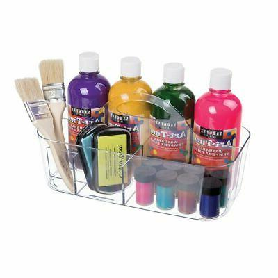 mDesign Plastic Tote Craft Supplies, Clear
