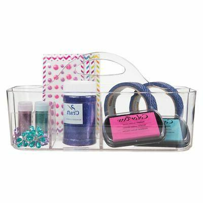 mDesign Plastic Storage Tote for Craft Clear