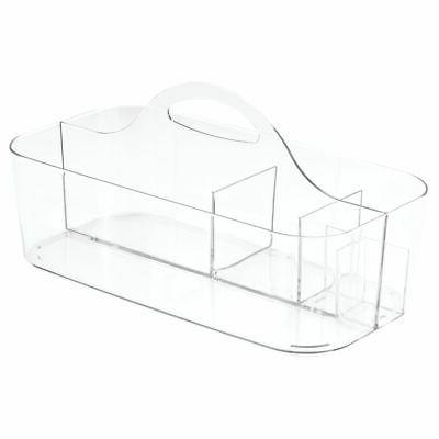 mDesign Plastic Tote for Craft Supplies, Large Clear