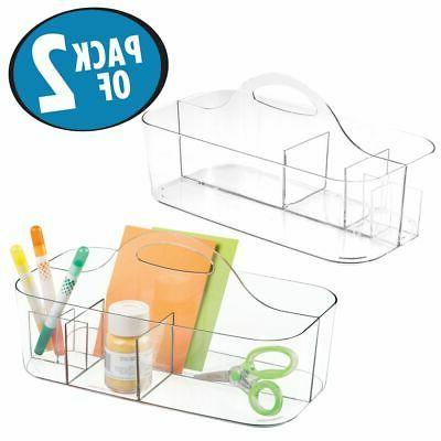 mDesign Plastic Storage Tote Sewing & Craft Clear